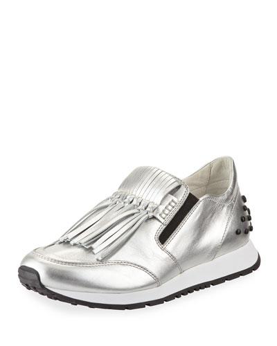 Kiltie Fringed Metallic Leather Slip-On Sneaker, Silver