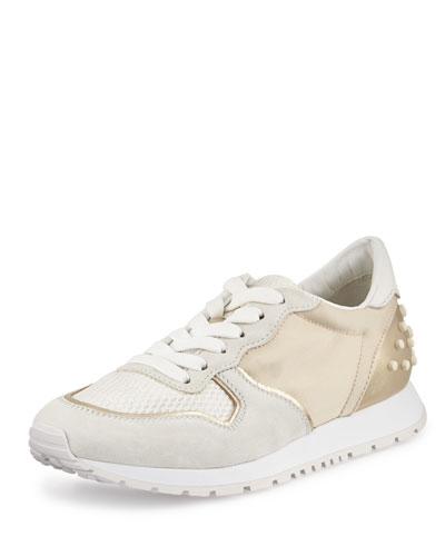 Mixed-Media Trainer Sneaker, White/Beige/Light Gray