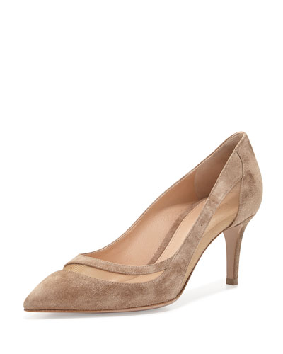 Suede & Tulle Keyhole Pump. Bisque/Nude