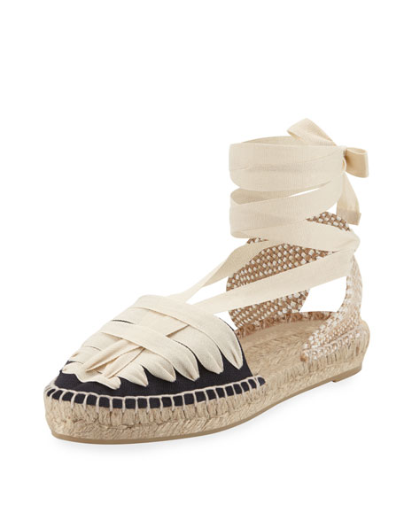 Patty Flat Canvas Espadrille, Marino/Crudo
