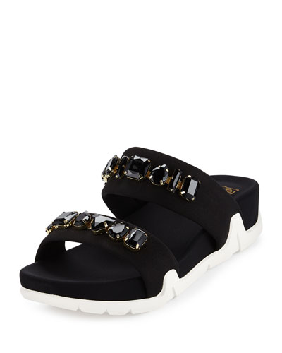 Oman Jeweled Two-Band Sport Sandal, Black