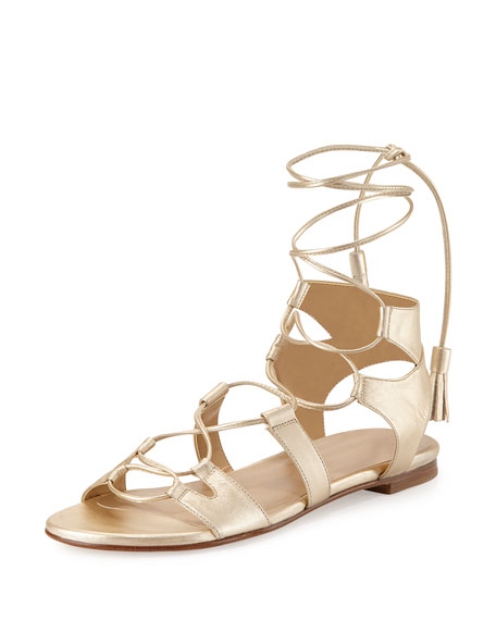Romanflat Leather Flat Gladiator Sandal, Cava