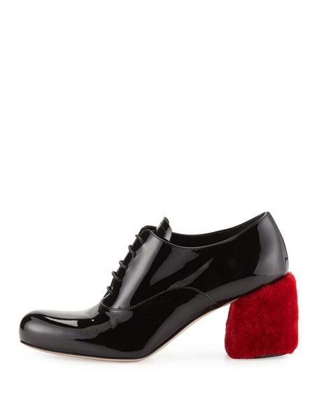 dc3068287b0 Shearling Fur-Heel Patent Oxford Pump Red/Black