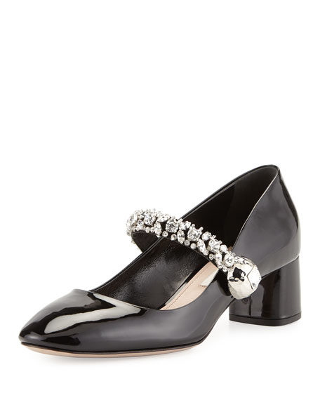 Jewel-Strap Mary Jane Pump, Black