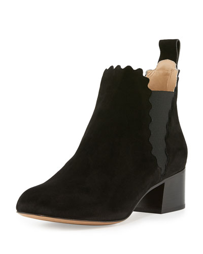 Lauren Scalloped Suede Ankle Boot, Black