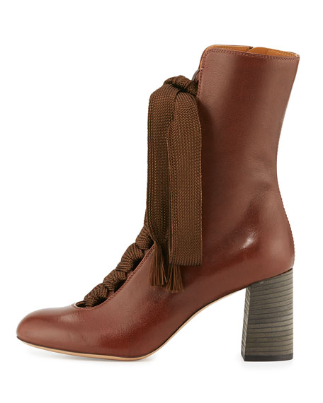 Harper Lace-Up 75mm Bootie, Chocolate