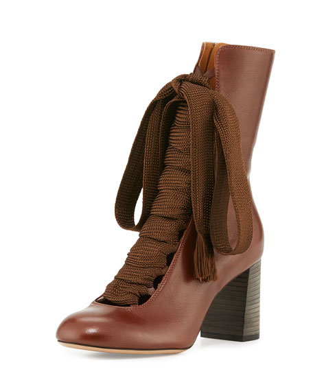 Chloe Harper Lace-Up 75mm Bootie, Chocolate