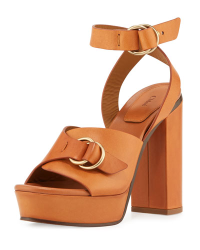 Kingsley Platform Buckle Sandal, Cognac Brown