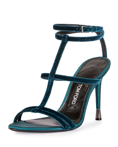 Velvet Cage 105mm Sandal, Pacific Blue