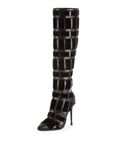 Woven Leather 105mm Knee Boot, Black