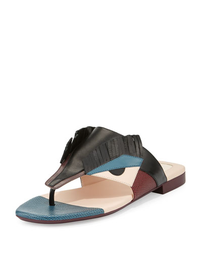 Leather Bug Thong Sandal, Black/Peony/Peacock