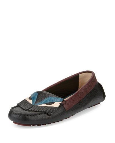 Flat Leather Bug Moccasin, Black/Peony/Peacock