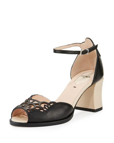 Chameleon Block-Heel Sandal, Black