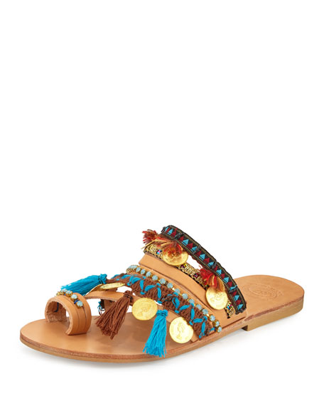 Elina Linardaki Marrakech Embroidered Coin Sandal Slide, Multi