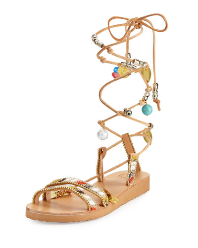 Stardust Leg-Wrap Leather Gladiator Sandal, Multi