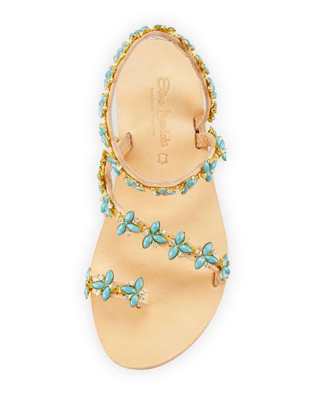 Natalie Beaded Jewel Flat Sandal, Multi