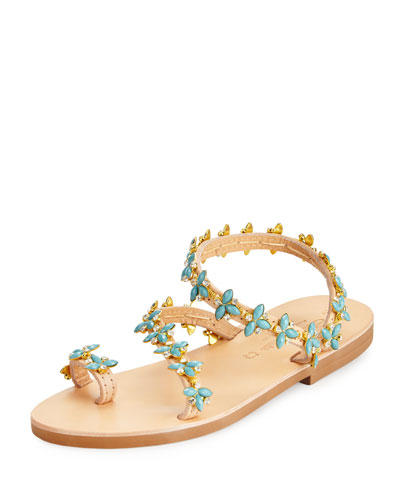 Natalie Beaded Jewel Flat Sandal, Multi