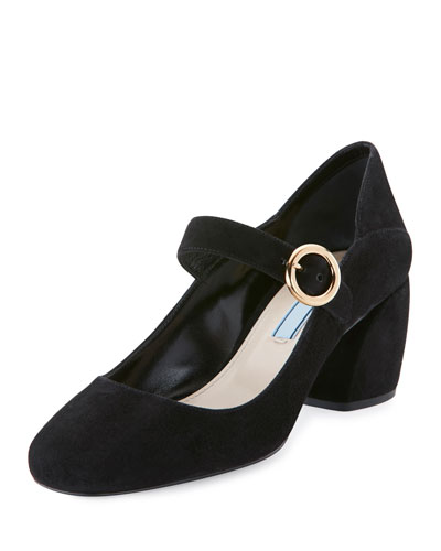 Suede Mary Jane 55mm Pump, Black (Nero)