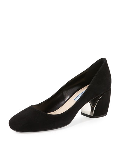 Suede Metallic-Heel 55mm Pump