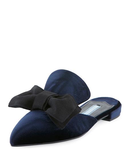 Prada Flat Velvet Bow Mule Flat Blue Bleu