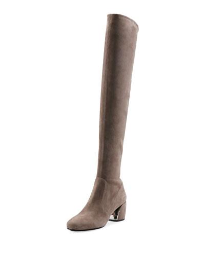 Suede Metal-Heel Over-the-Knee Boot