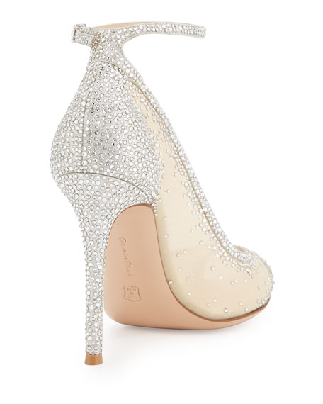 Gemma Crystal Peep-Toe Ankle-Strap Pump, Silver/Clear