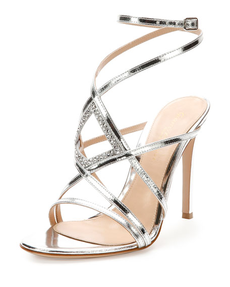 Rhinestone Metallic Leather Evening Sandal, Silver