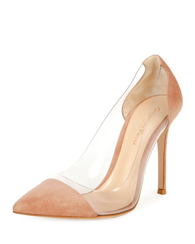 Suede Cap-Toe Illusion 105mm Pump, Praline