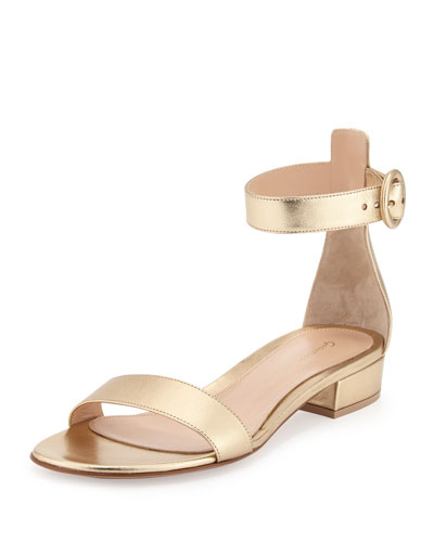 Portofino Leather Ankle-Wrap Sandal, Gold