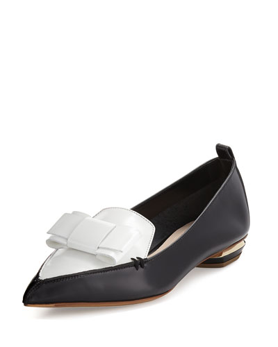 Beya Bow Pointed-Toe Loafer, Black/White