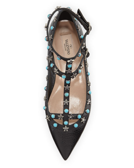 Rockstud Lace-Up Cage Flat, Black
