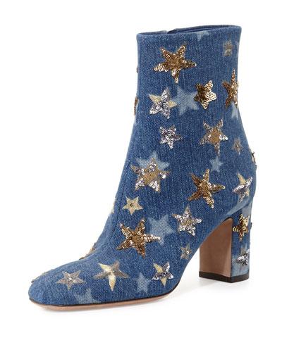 Star-Studded Denim Ankle Boot