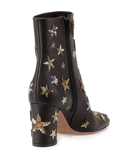 Sequined Star-Embellished Leather Boot