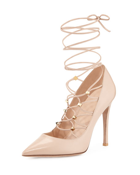 Patent Lace-Up 105mm Pump, Powder