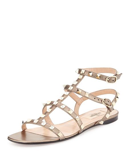 Valentino Metallic Leather Rockstud Flat Sandal, Skin