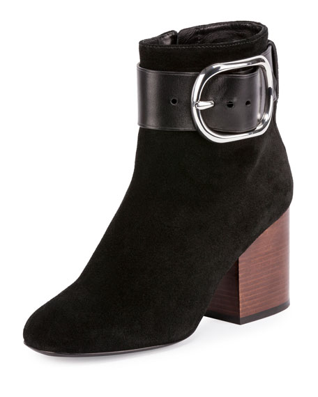 Alexander Wang Kenze Suede Buckle Boot, Black