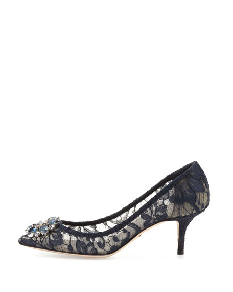 Jewel-Embellished Lace Pump, Blu Notte