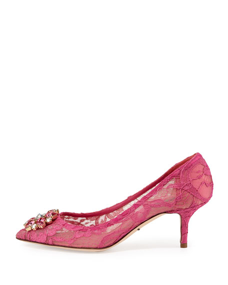 Jewel-Embellished Lace Pump, Fuchsia