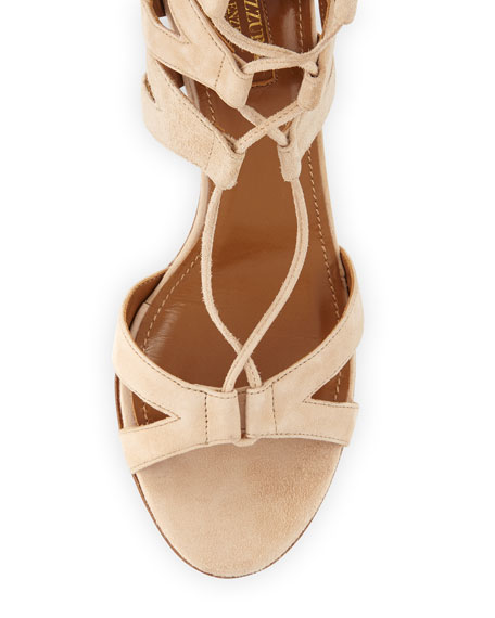 Beverly Hills Suede Lace-Up Sandal, Nude