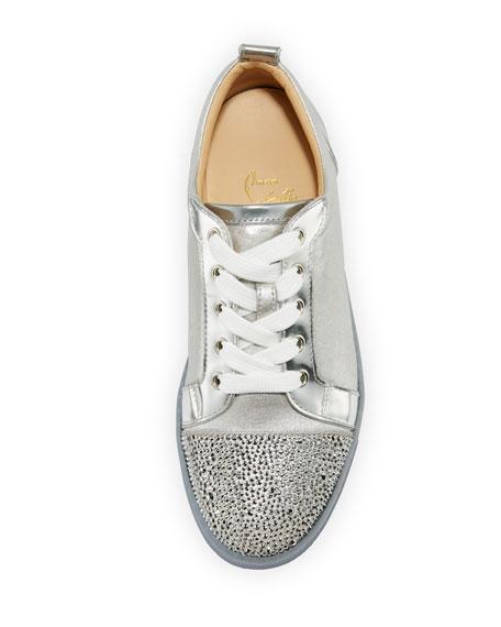 low price christian louboutin shoes - Christian Louboutin Gondolastrass Metallic Cap-Toe Sneaker, Silver