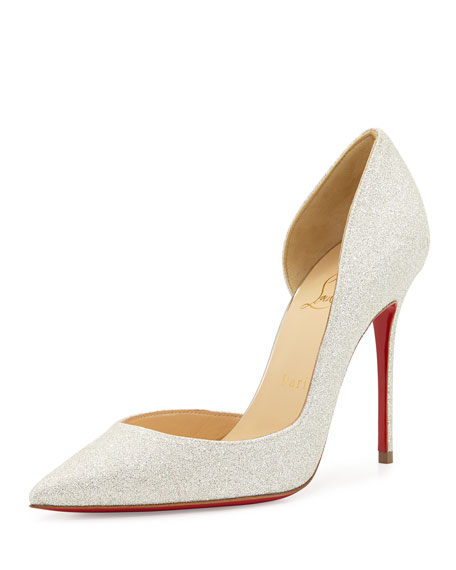 Iriza Glittered Half-d'Orsay Red Sole Pump, Ivory/Light Gold