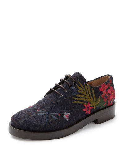 Homere Embroidered Wool Oxford, Blue/Wine/Multi