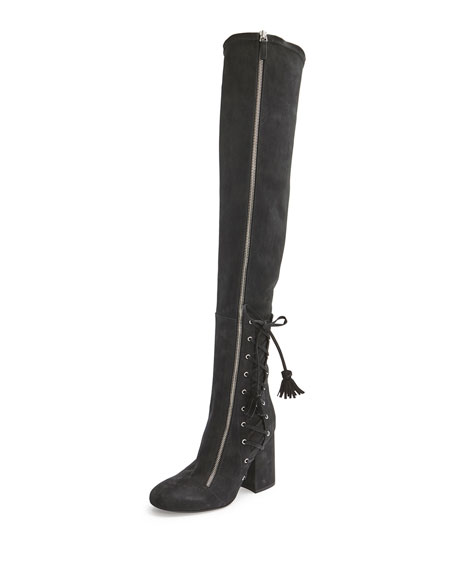 Laurence Dacade Maren Side-Lace Tall Boot, Black