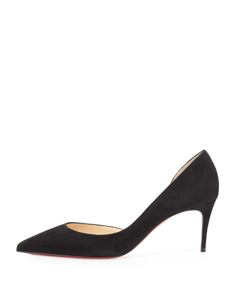Iriza Half-d'Orsay 70mm Red Sole Pump, Black