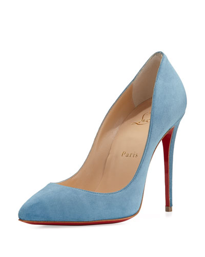 Pigalle Follies Suede Red Sole Pump, Celeste Blue