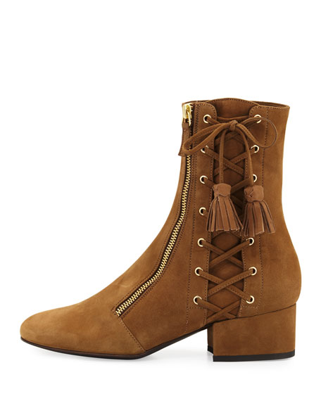 Marcella At Town Center: Laurence Dacade Marcella Side-Zip Lace-Up Suede Boots, Tan