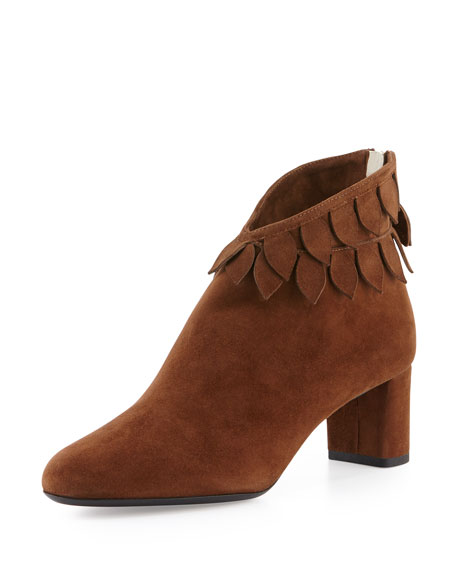 Valentina Carrano Luisella Leaves Suede Ankle Boot, Cigar