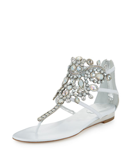 Crystal-Chandelier Thong Sandal, White