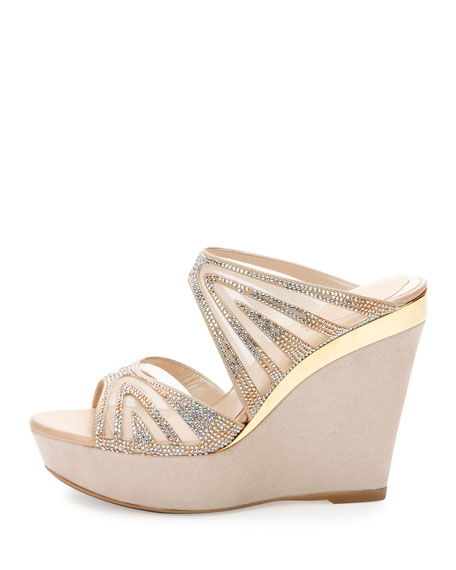 Crystal-Embellished Two-Band Wedge Slide Sandal, Beige/Topaz