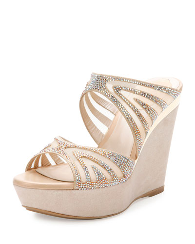 Crystal-Embellished Two-Band Wedge Slide Sandal, Beige/Topaz